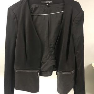 The Limited Black Leather Colorblock Blazer